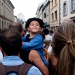 Stock Photo: Portrait of unidentified young boy in crowd