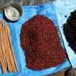 Стоковое фото: Cinnamon, spices and steelyard.