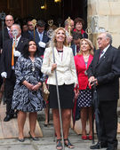 Andalusian dignitaries leaving the church for the parade. — Stock Photo