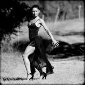 国の車線でフラメンコを踊る女性. — ストック写真