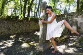 Dancer in a cemetery. — Stock Photo