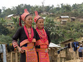 Traditional costumes for Akha women. — Stock Photo