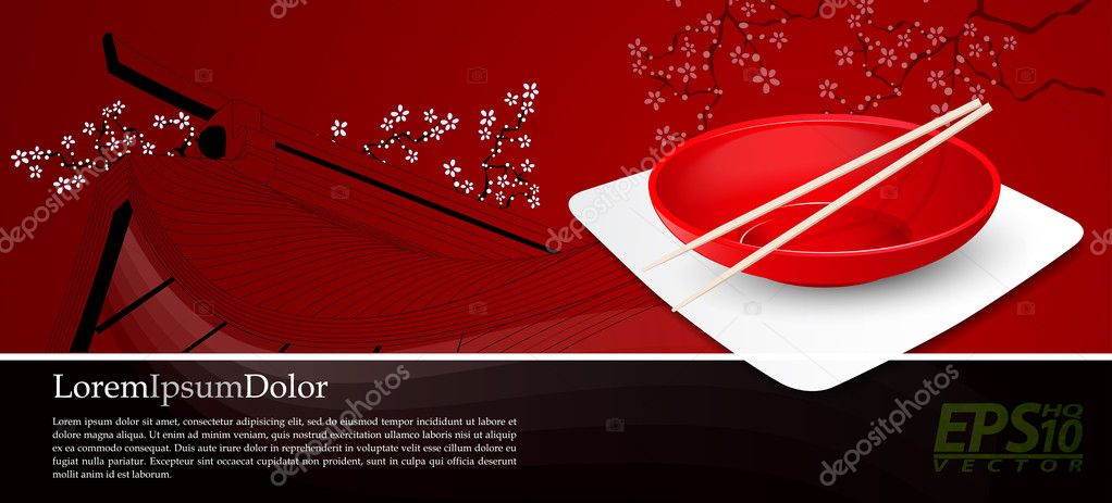 Two chopsticks on Chinese Bowl | Chinese Food Vector Background | Layered EPS10 Vector Background  Stock Vector #13436589