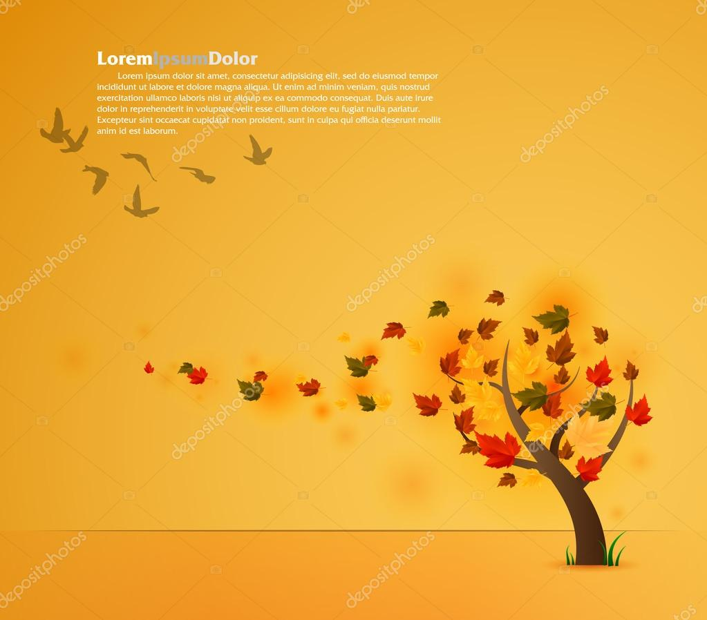 Autumn tree background | editable EPS10 vector illustration  Stock Vector #13436652