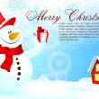 Christmas Background with Snowman | Editable EPS10 Vector Illustration — Stok Vektör