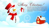 Christmas Background with Snowman | Editable EPS10 Vector Illustration — Vettoriale Stock