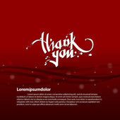 Thank you calligraphy text on a red background — Stock Vector