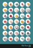 Flat Design Icon Set Named and Layered Separately Vector Icon Set — Stock Vector