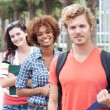 Stock Photo: Happy group of college students
