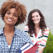 Happy pair of college students - Stock Photo