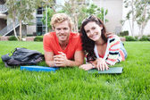 Pair of happy college students — Stock Photo
