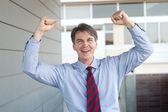Retrato de un empresario maduro celebrando — Foto de Stock