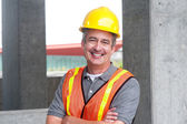Portrait of a happy construction worker — Stock Photo