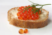 Salmon caviar on fresh whole-grain baguette — Stock Photo