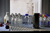 Bottles, flask and laboratory equipment — 图库照片