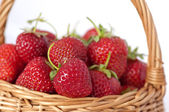 Fresas en cesta sobre fondo blanco — Foto de Stock
