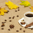 Autumn cup of coffee — Stock Photo