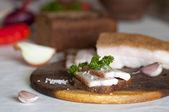 Salted pork lard (salo) on rye bread — Stock Photo