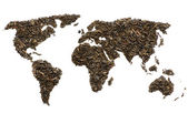 World map made of tea — Stock Photo