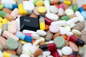 Ctrl (control) key among drugs (Control drugs) — Stock Photo