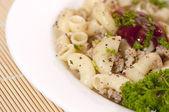 Pasta Fiottarini (pasta with fried meat) — Stock Photo