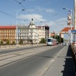 Prague cityscape with old buildings and modern tram — Stock Photo #36488231