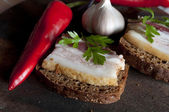 Tasty sandwich with salted lard (salo) — Stock Photo