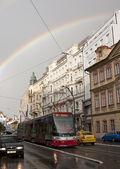 Prague cityscape with rainbow — Stock Photo