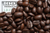Coffee beans on bank note — Stock Photo