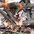 Smoldering broken bonfire with flame — Stock Photo #12679625