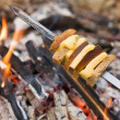 Cheese and bread roasted on the fire — Stock Photo