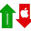 Samsung grows, Apple falls — стоковое фото #13119942