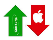 Samsung grows, Apple falls — Stock Photo