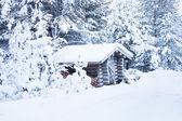 Malý dřevěný srub pod sněhem — Stock fotografie
