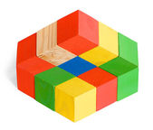 Impossible toy, unreal cubes construction, illusion — Stock Photo