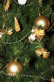 Christmas tree decorated close-up view — Stock Photo