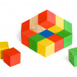 Unreal toy, impossible cubes construction, illusion — Stock Photo
