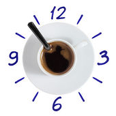 Coffee cup clock with painted dial — Stock Photo