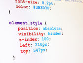 Screenshot di monitor codice css — Foto Stock