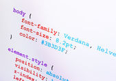 CSS source code closeup diagonal view — Stock Photo