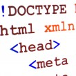 Fragment of HTML source code of web page with title — 图库照片