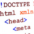 Fragment of HTML source code of web page with title — ストック写真