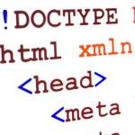 タイトルで web ページの html ソース コードの断片 — ストック写真