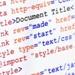 HTML web page source code with document title — Stock Photo #14444721