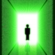 Dark green digital corridor with man silhouette — Stock Photo #14444759
