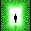 Dark green digital corridor with man silhouette — Stock Photo