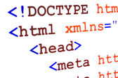 Fragment of HTML source code of web page with title — Stock Photo