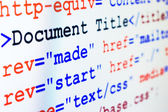 HTML source code of web page with title — Stock Photo