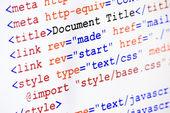 Código de fuente de la página web de html con el título del documento — Foto de Stock