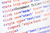 HTML web page source code with document title — Stock Photo